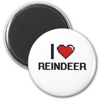 I love Reindeer Digital Design 2 Inch Round Magnet