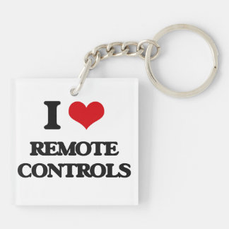 I Love Remote Controls Double-Sided Square Acrylic Keychain