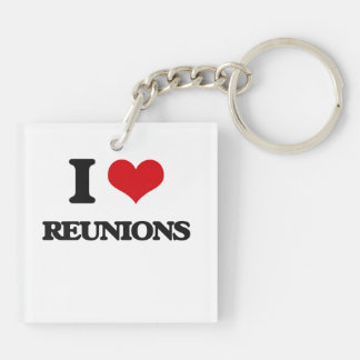 I Love Reunions Double-Sided Square Acrylic Keychain