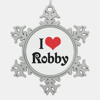 I Love Robby Snowflake Pewter Christmas Ornament
