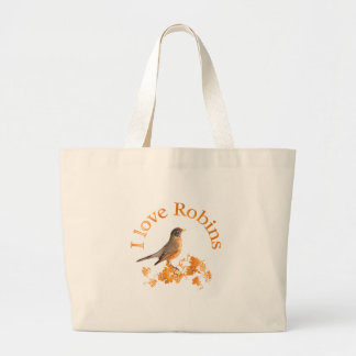 I Love Robins Large Tote Bag