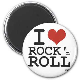 I love Rock and roll 6 Cm Round Magnet