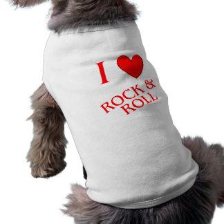 I Love Rock and Roll Sleeveless Dog Shirt