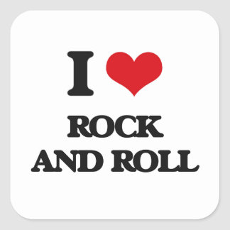 I Love ROCK AND ROLL Square Stickers