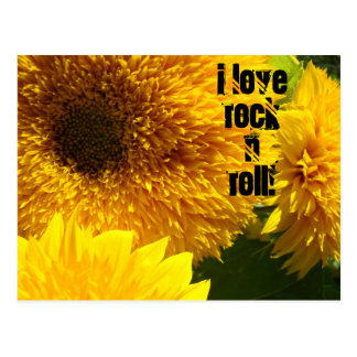 I Love Rock n Roll postcards Sunflower Bright