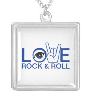 I Love Rock & Roll Square Pendant Necklace
