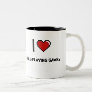 I Love Role-Playing Games Digital Retro Design Two-Tone Coffee Mug