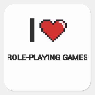 I Love Role-Playing Games Digital Retro Design Square Sticker