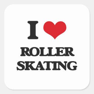 I Love Roller Skating Square Sticker