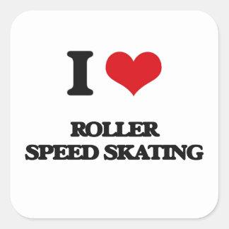 I Love Roller Speed Skating Square Sticker