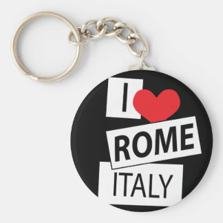 I Love Rome Italy Basic Round Button Key Ring