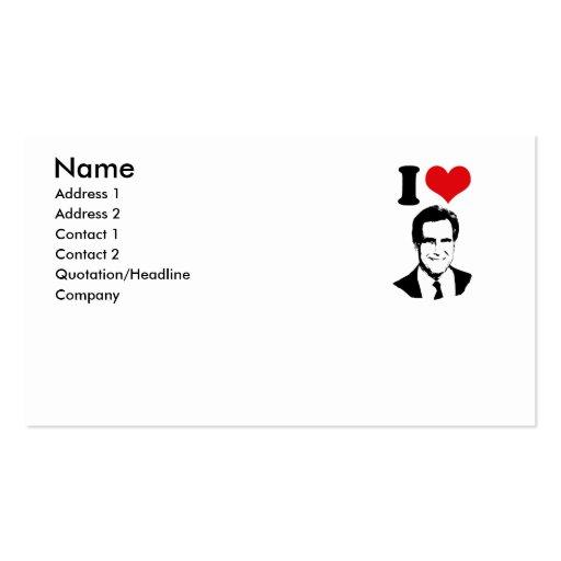 I LOVE ROMNEY 2012 BUSINESS CARD