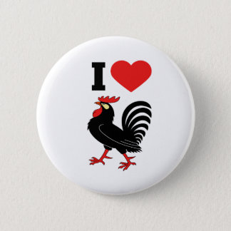 I Love rooster 6 Cm Round Badge