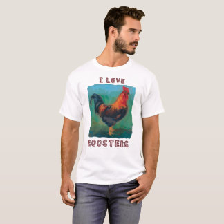 """""""I Love Roosters"""" colorful t-shirt"""