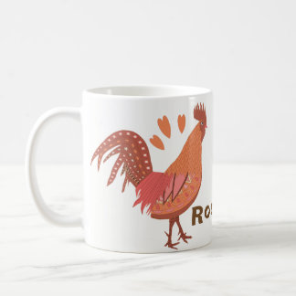 I Love Roosters Peach and Pink Coffee Mug