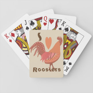 I Love Roosters Peach and Pink Playing Cards