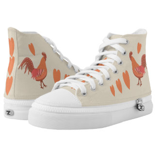 I Love Roosters Peach and Pink Printed Shoes