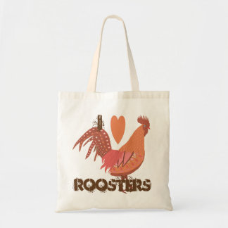 I Love Roosters Peach and Pink Tote Bag