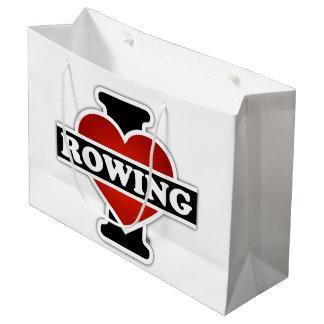 I Love Rowing Large Gift Bag