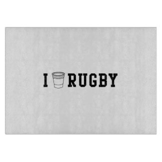 I Love Rugby Cutting Board