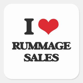 I Love Rummage Sales Square Sticker