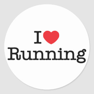 I love running round sticker