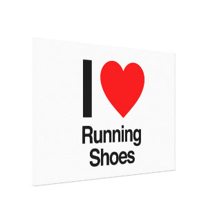 i love running shoes stretched canvas prints