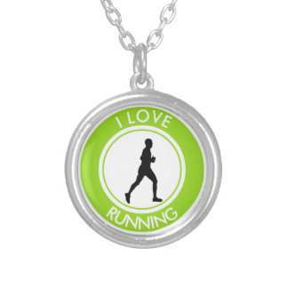 I LOVE RUNNING SILVER PLATED NECKLACE