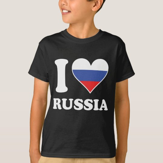 I Love Russia Russian Flag Heart T-Shirt
