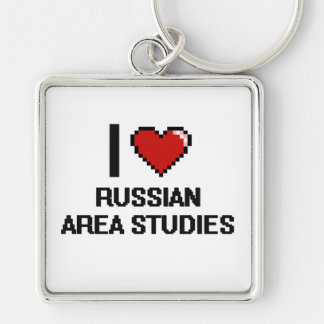 I Love Russian Area Studies Digital Design Silver-Colored Square Key Ring