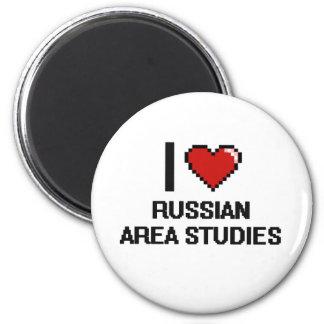 I Love Russian Area Studies Digital Design 6 Cm Round Magnet