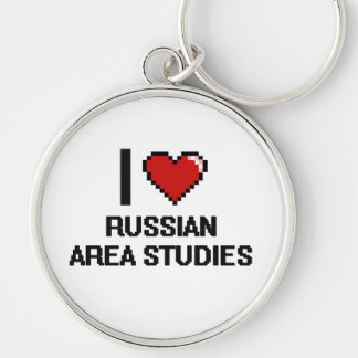 I Love Russian Area Studies Digital Design Silver-Colored Round Key Ring