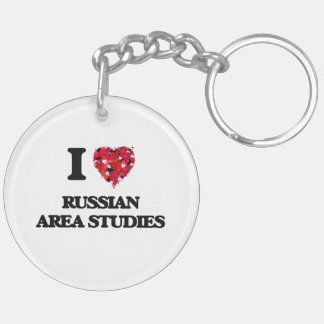 I Love Russian Area Studies Double-Sided Round Acrylic Key Ring