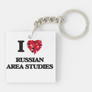 I Love Russian Area Studies Double-Sided Square Acrylic Key Ring