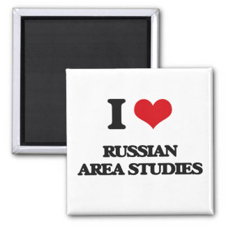I Love Russian Area Studies Square Magnet