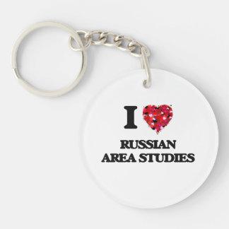 I Love Russian Area Studies Single-Sided Round Acrylic Key Ring