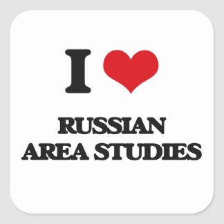 I Love Russian Area Studies Square Sticker