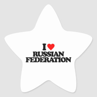 I LOVE RUSSIAN FEDERATION STAR STICKERS