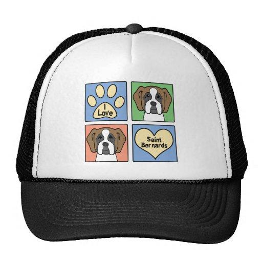 I Love Saint Bernards Trucker Hats