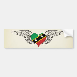I Love Saint Kitts and Nevis -wings Bumper Sticker