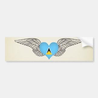 I Love Saint Lucia -wings Bumper Sticker