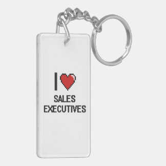 I love Sales Executives Double-Sided Rectangular Acrylic Keychain