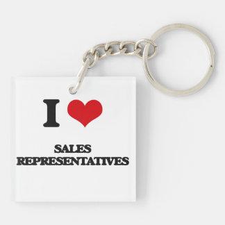 I Love Sales Representatives Double-Sided Square Acrylic Keychain