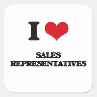 I love Sales Representatives Square Stickers