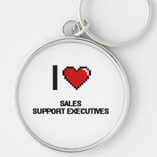 I love Sales Support Executives Silver-Colored Round Keychain