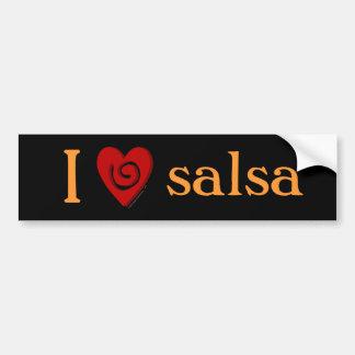 I Love Salsa Heart Dance Lovers Bumper Sticker