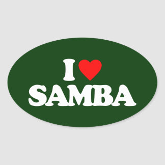 I LOVE SAMBA OVAL STICKER