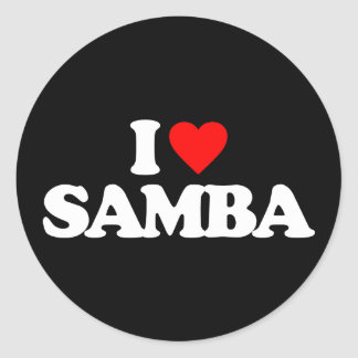 I LOVE SAMBA ROUND STICKER