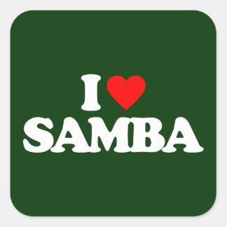 I LOVE SAMBA SQUARE STICKER