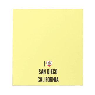 I Love San Diego, California Notepad